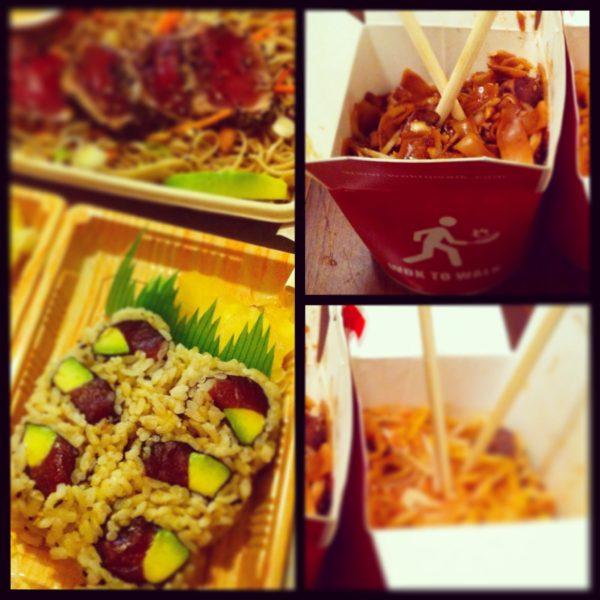 El sushi del mediodía y los wok de la noche