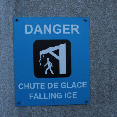 Peligro - Desprendimiento de hielo