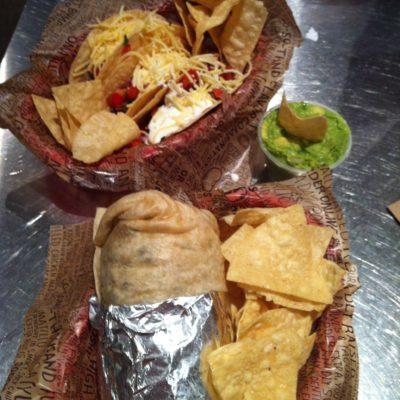Burrito, tacos y guacamole de Chipotle