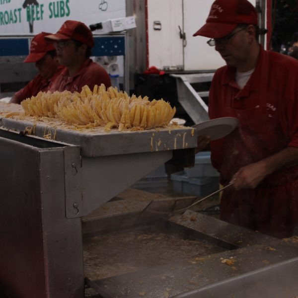 Flor de cebolla frita en el festival