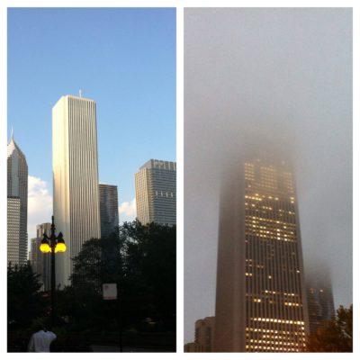 Misma torre, mismo día... Cómo cambió de la mañana a la tarde...