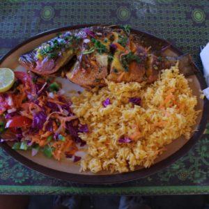 Primera comida: pargo rojo con arroz y ensalada