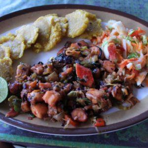 Primera cena: revuelto de mariscos (pulpo, calamares, mejillones...) con patacones (plátano frito) y ensalada