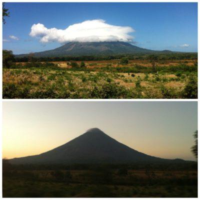 El volcán Concepción el mismo día: por la mañana con la súper nube, al atardecer casi totalmente despejado