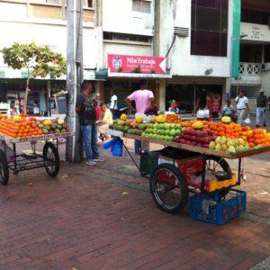 Nos sorprendió gratamente ver un montón de frutas en la calle, ya que nos llamó la atención la falta de ellas en Centroamérica