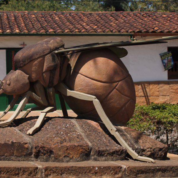 Monumento a la hormiga culona en Barichara, ¿a que parece más una mosca o abeja?