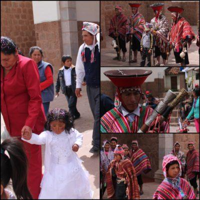 Coincidimos con la comunión de esta niña de mofletes colorados, donde pudimos ver a este grupo de hombres y chicos con ropa tradicional