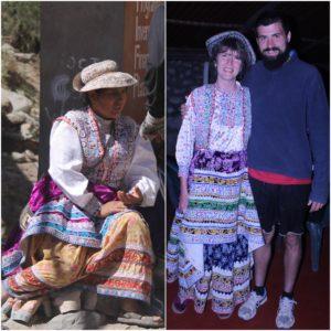 Vimos a una mujer vestida con el traje tradicional de la zona y en la segunda noche, vistieron a la madre de la familia inglesa de la misma manera