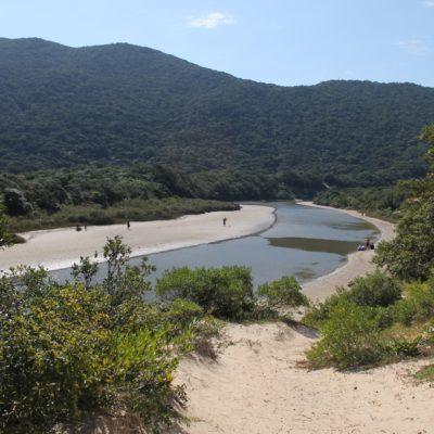 Detrás de la playa, los chicos encontraron este pequeño lago