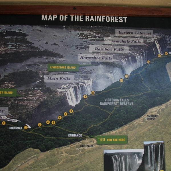 Mapa de las Cataratas Victoria desde el lado de Zimbabwe