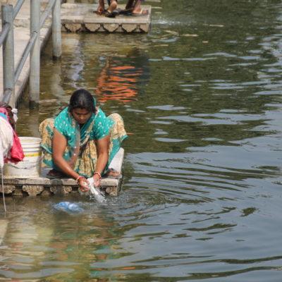 Una mujer lavando ropa en el borde del lago Pichola