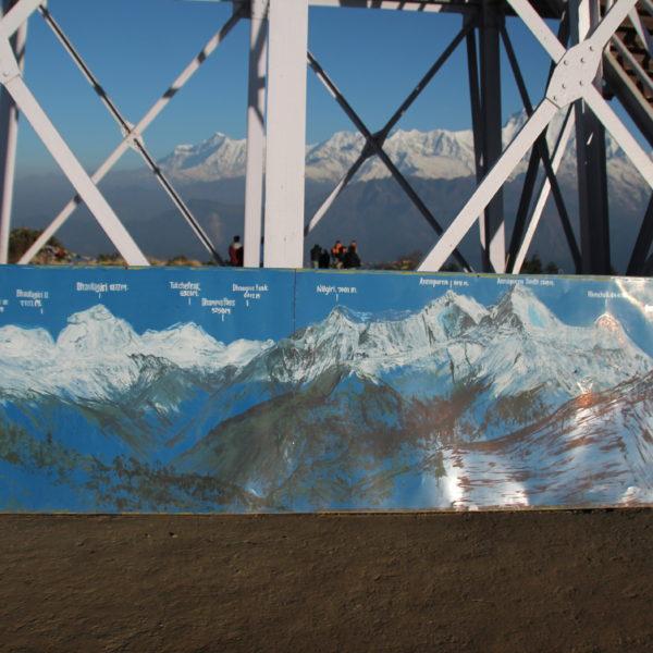 Me encantan estos dibujos que indican el nombre y la altitud de cada montaña que se ve
