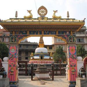 En Patan, este arco y estupa de colores nos encantó