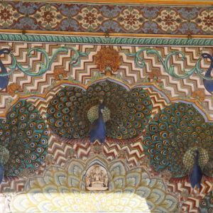 Aunque no vimos ninguno, los pavos reales son un tema recurrente en la decoración de Rajasthan