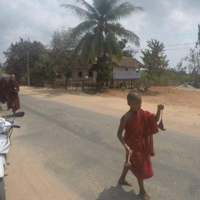 Por la mañana, de camino a la playa, nos encontramos con la recolecta de limosna que realizan los monjes