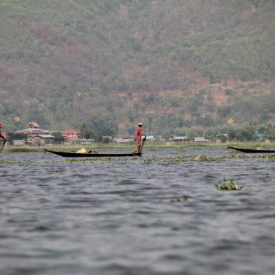 En la zona del lago Inle por donde pasamos vimos muchos pescadores