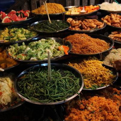 Pero la estrella del mercado eran los buffet vegetarianos