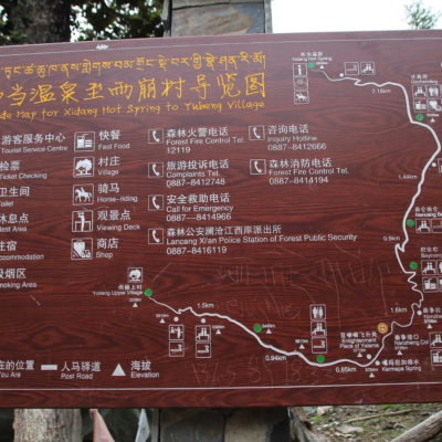 Mapa del recorrido de Xidang a Yubeng