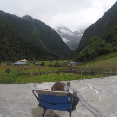 Vistas desde la terraza de nuestro alojamiento en Lower Yubeng