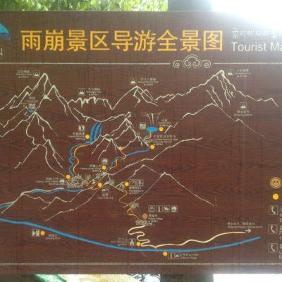 Mapa de los senderos a los lagos y las cascadas de Yubeng