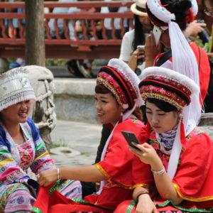 Dentro del museo nos encontramos con estas chicas vestidas con trajes tradicionales chinos para sacarse fotos con los turistas
