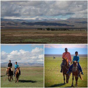 Montamos a caballo en Mongolia, algo que le hacía mucha ilusión a Amaia