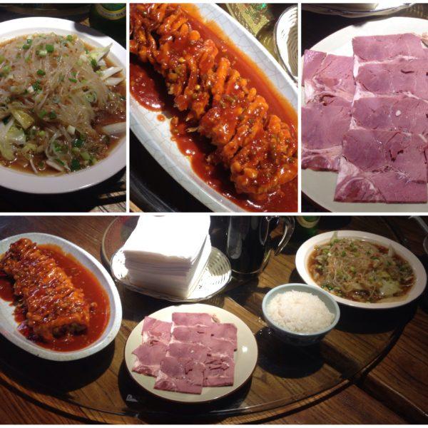 La verdad que nos cuidaon muy bien en Pingyao también y probamos mucha comida: noodles de cristal, berenjena rebozada y una especie de lacón