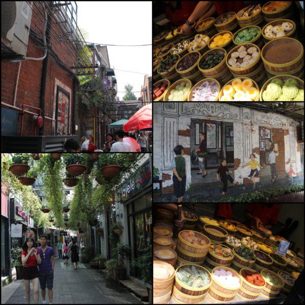 Las calles de Tianzifang y algunos manjares