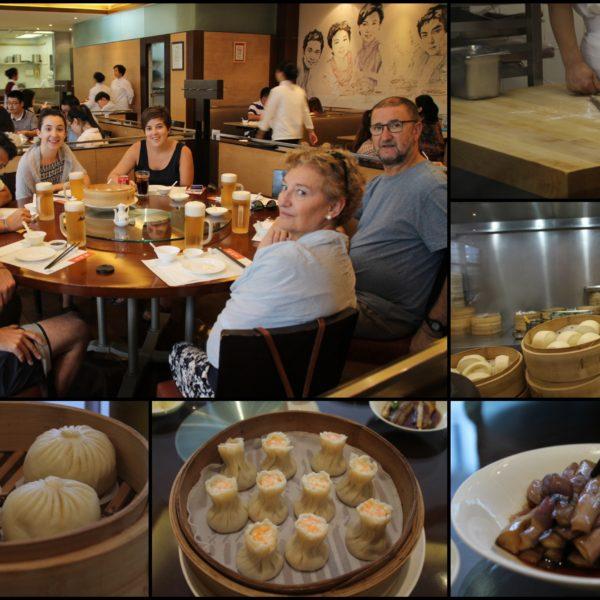 Comiendo dumplings y otras delicias en el restaurante Din Tai Fung