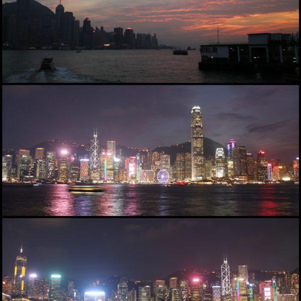 Alucinante el skyline de Hong Kong iluminado