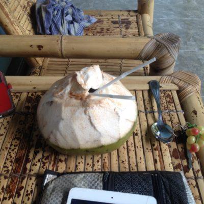 Nada mejor que los del hostal te inviten a un coco que acaban de bajar del cocotero para disfrutarlo en nuestra terracita