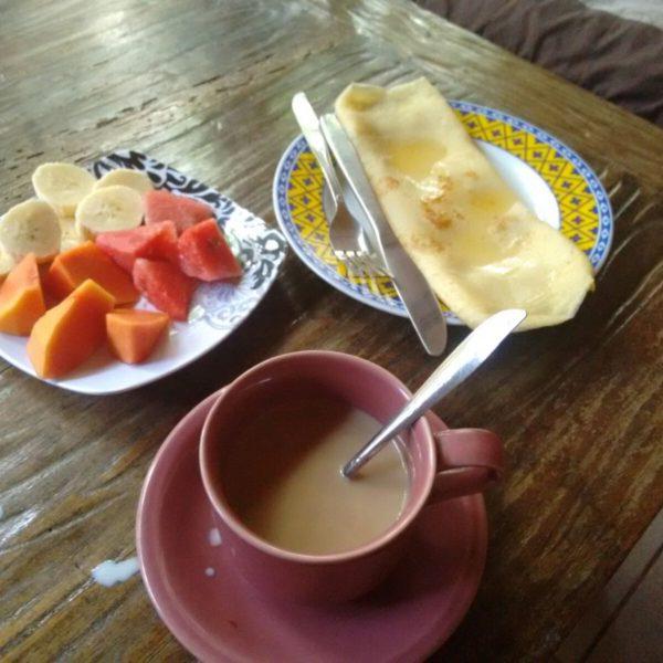 El fabuloso desayuno que disfrutábamos cada día en nuestra terracita