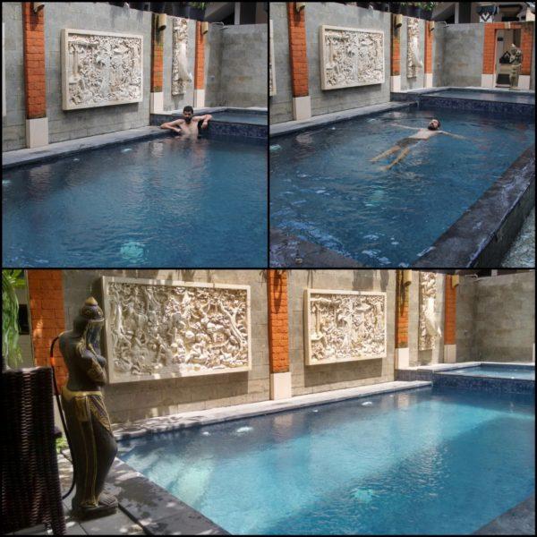 La maravillosa piscina de nuestro hostal